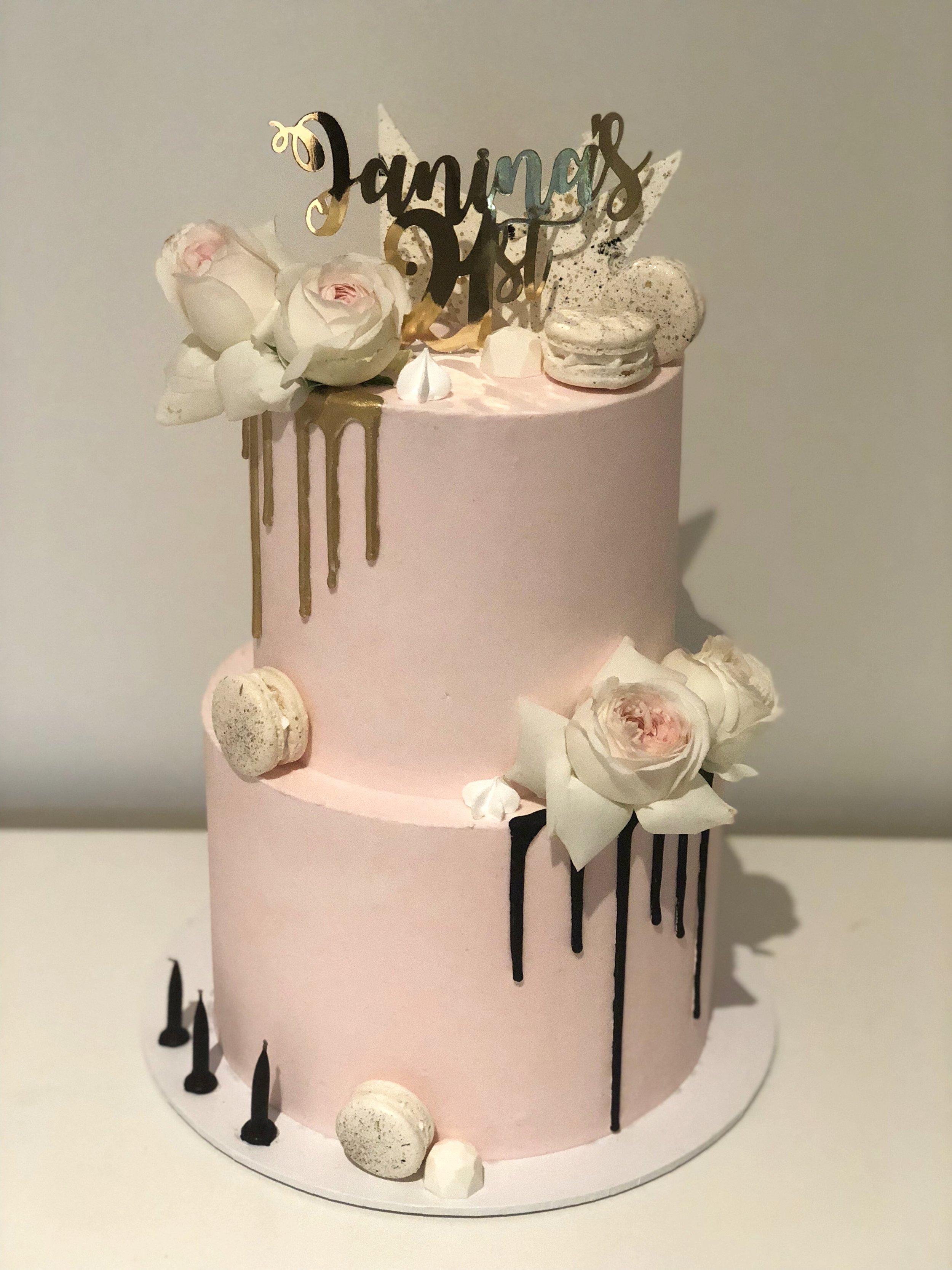 Pink Drip Birthday Cake