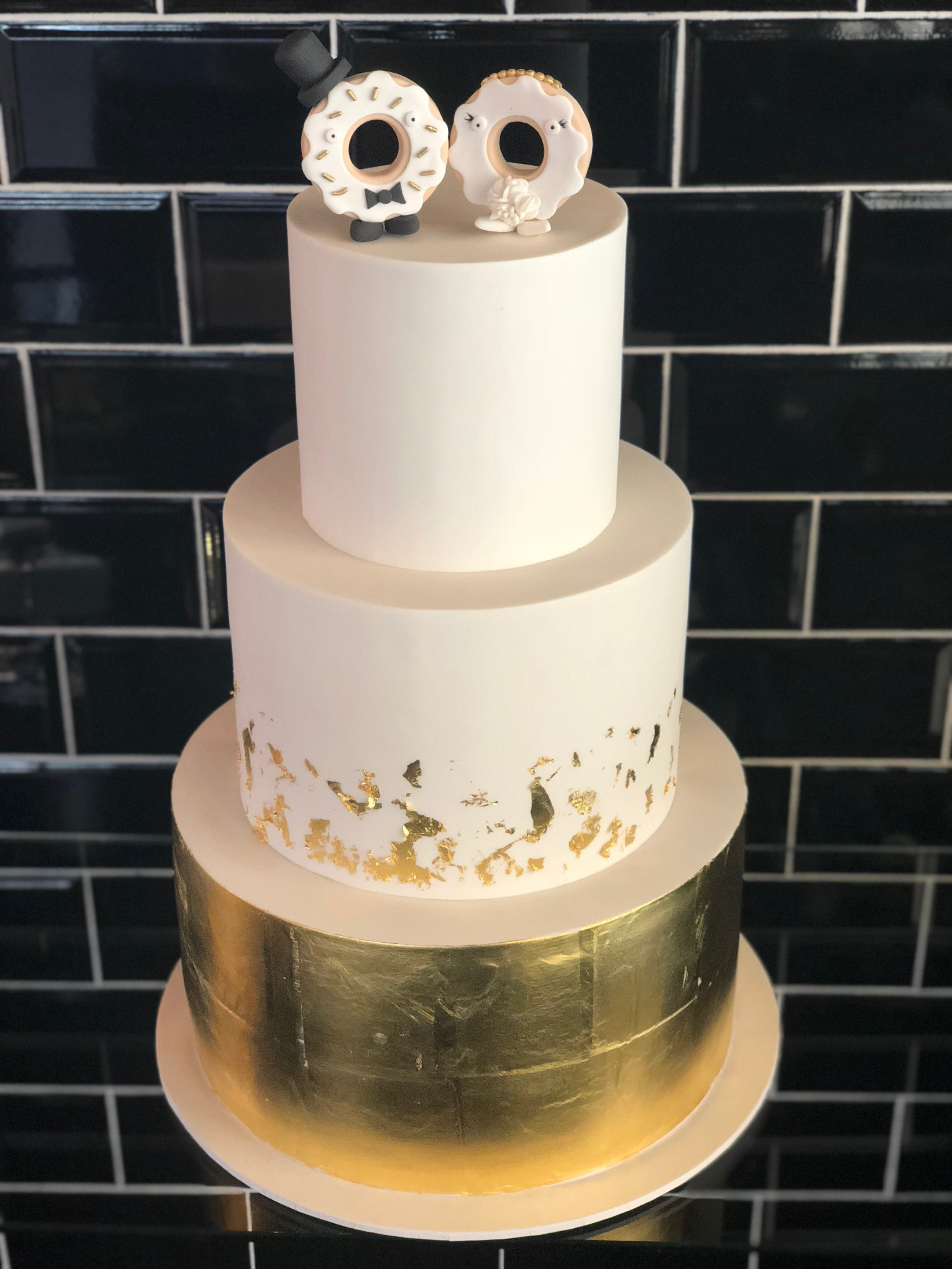 Wedding Cake with Donut Toppers