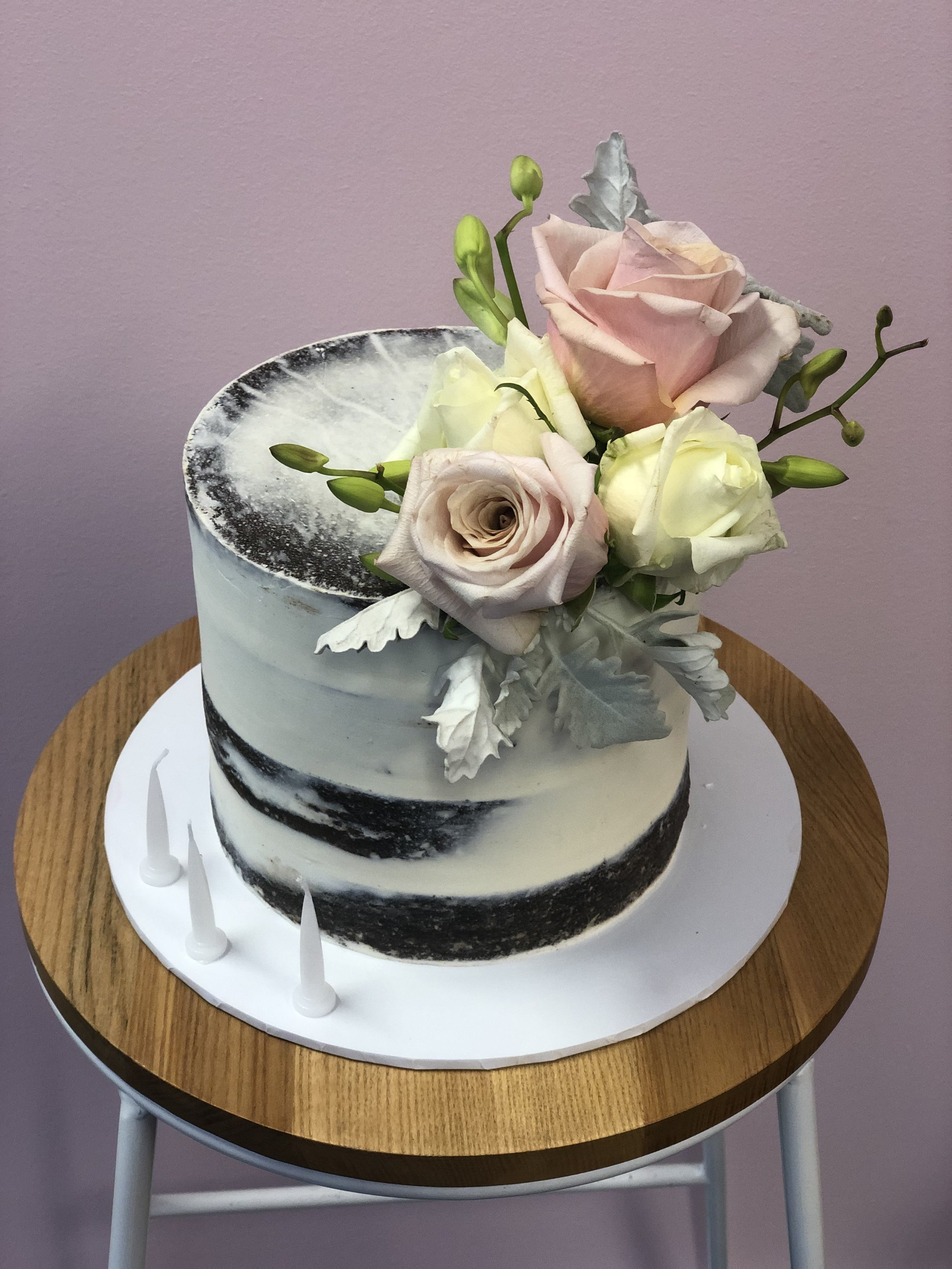 Chocolate Naked Cake with Fresh Flowers