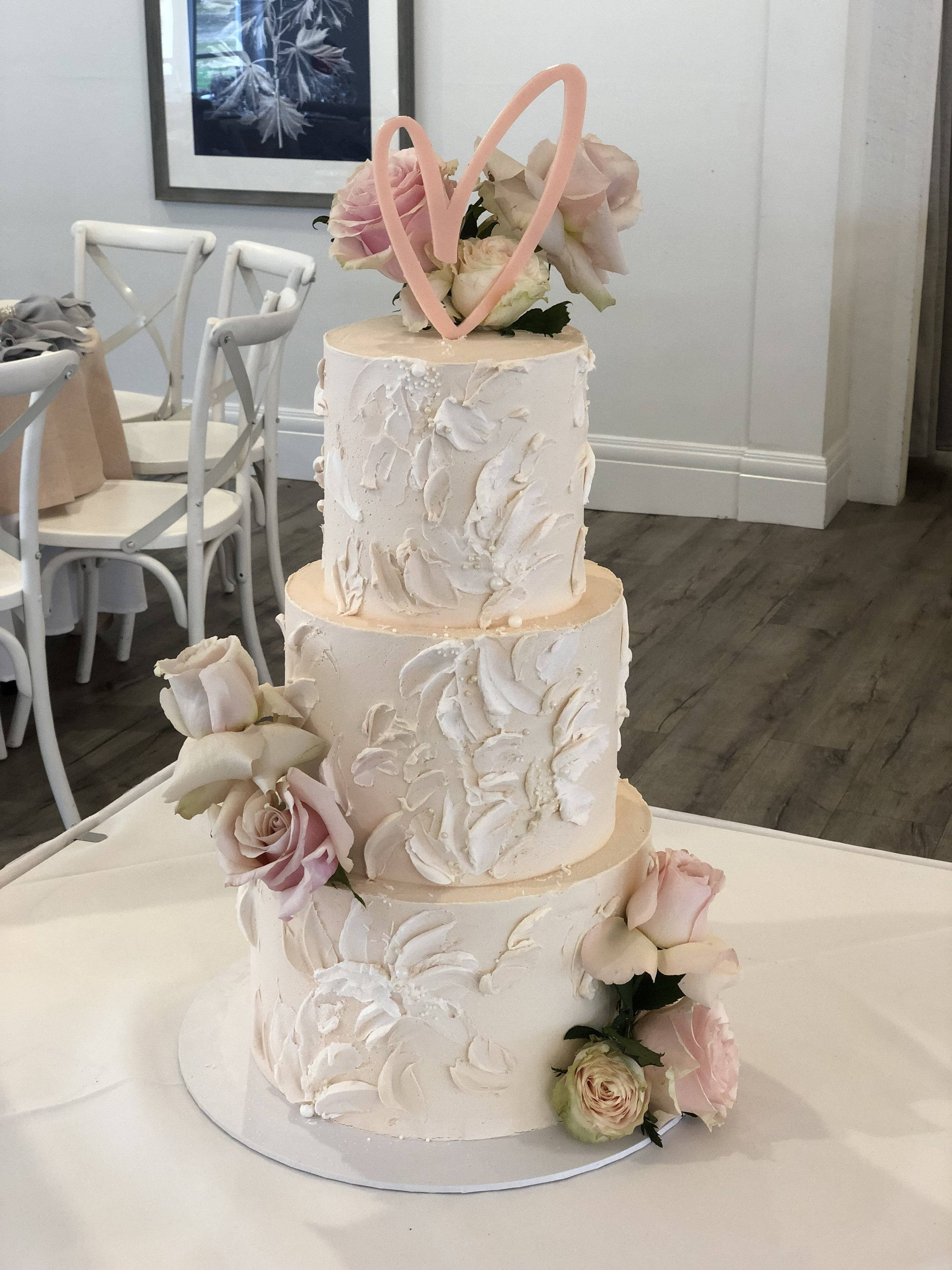 """""""Painted"""" Floral Buttercream Cake with Fresh Pastel Blooms"""