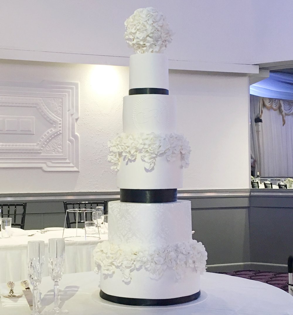 Black & White 5 Tier Showstopper Wedding Cake at San Remo Ballroom