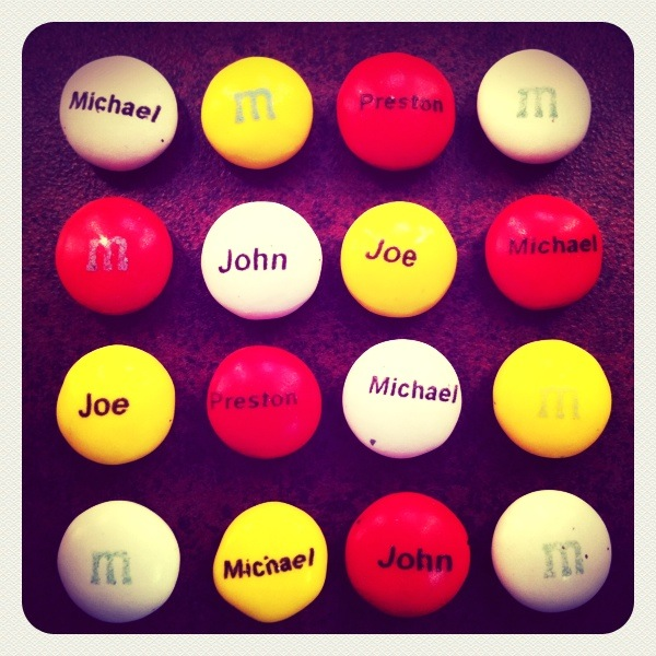 customized M&Ms for the Four Seasons of the  US First National Tour of Jersey Boys