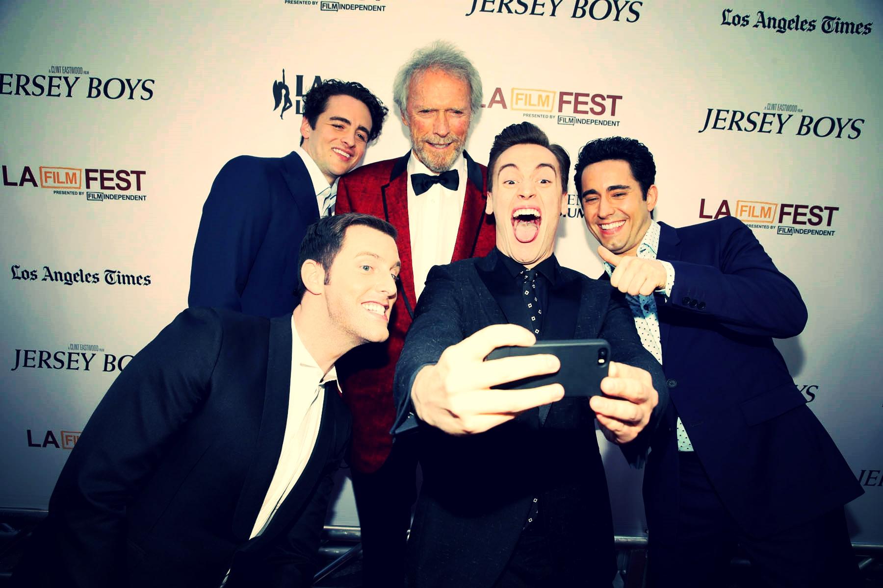 LA Film Festival selfie on the red carpet at the  Jersey Boys premiere