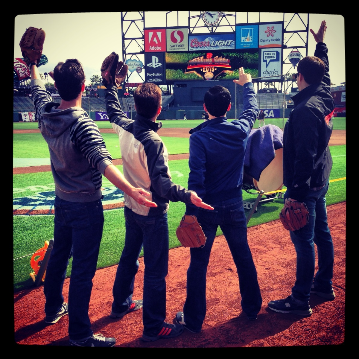 Sound check for the National Anthem at the  San Francisco Giants  home opener  (Jersey Boys US First National Tour)
