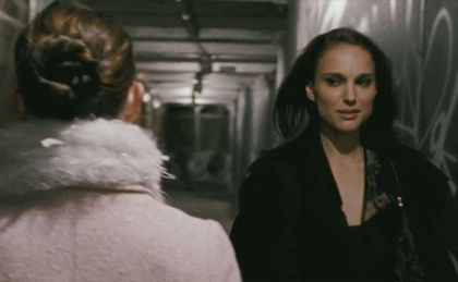 Double take: The angelic ballerina Nina (Natalie Portman) & her devilish doppleganger (also Natalie Portman) in Darren Arronofsky's  Black Swan  (2010) .