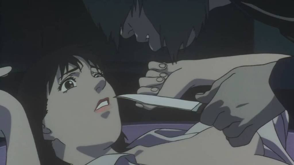 Me-Mania attempts to force himself on Mima on the empty set of her police drama in  Perfect Blue .