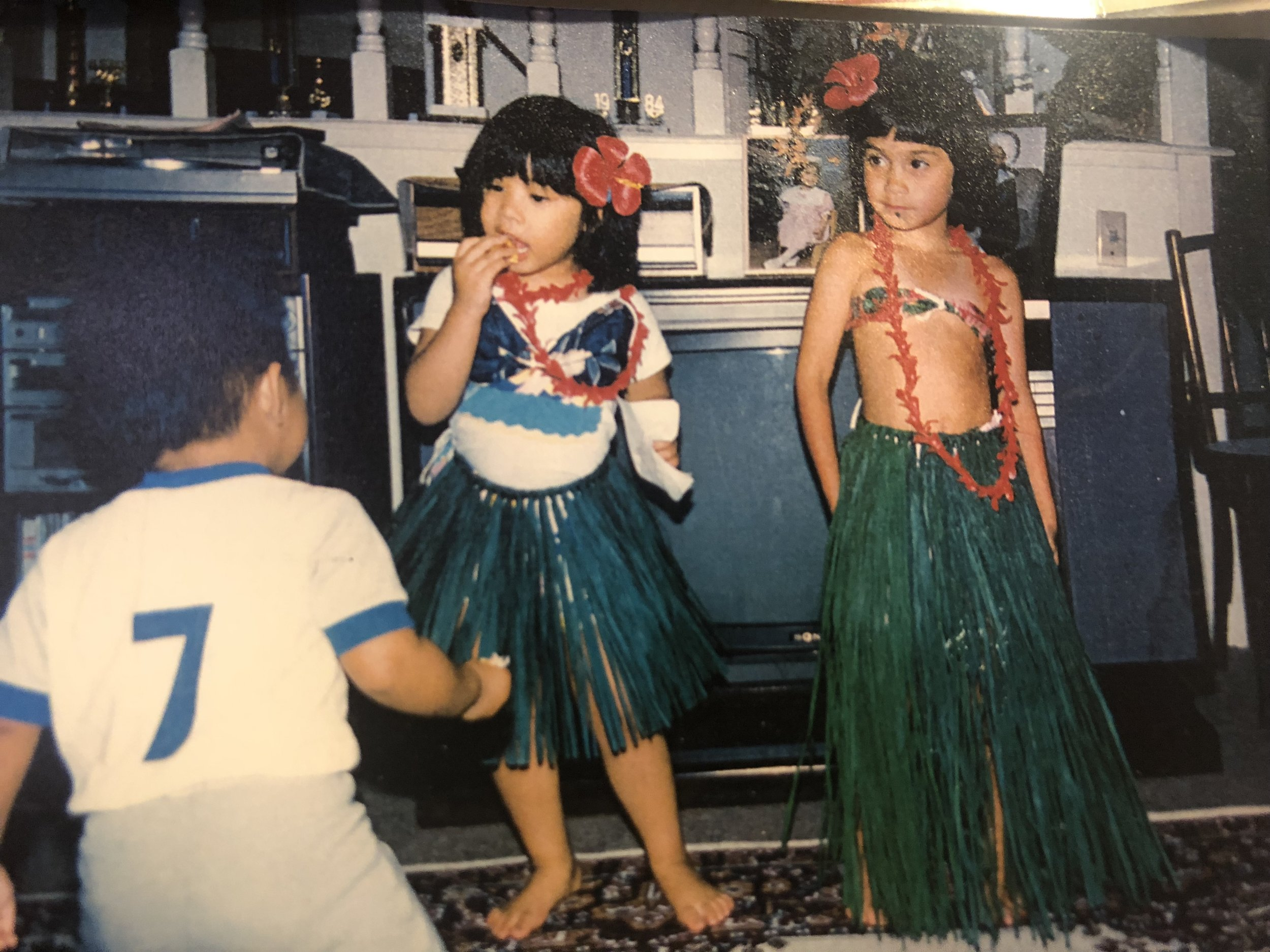 (From left to right) my cousins Kevin, Kathy & me putting on a show at my grandparents' house in the late 1980s.