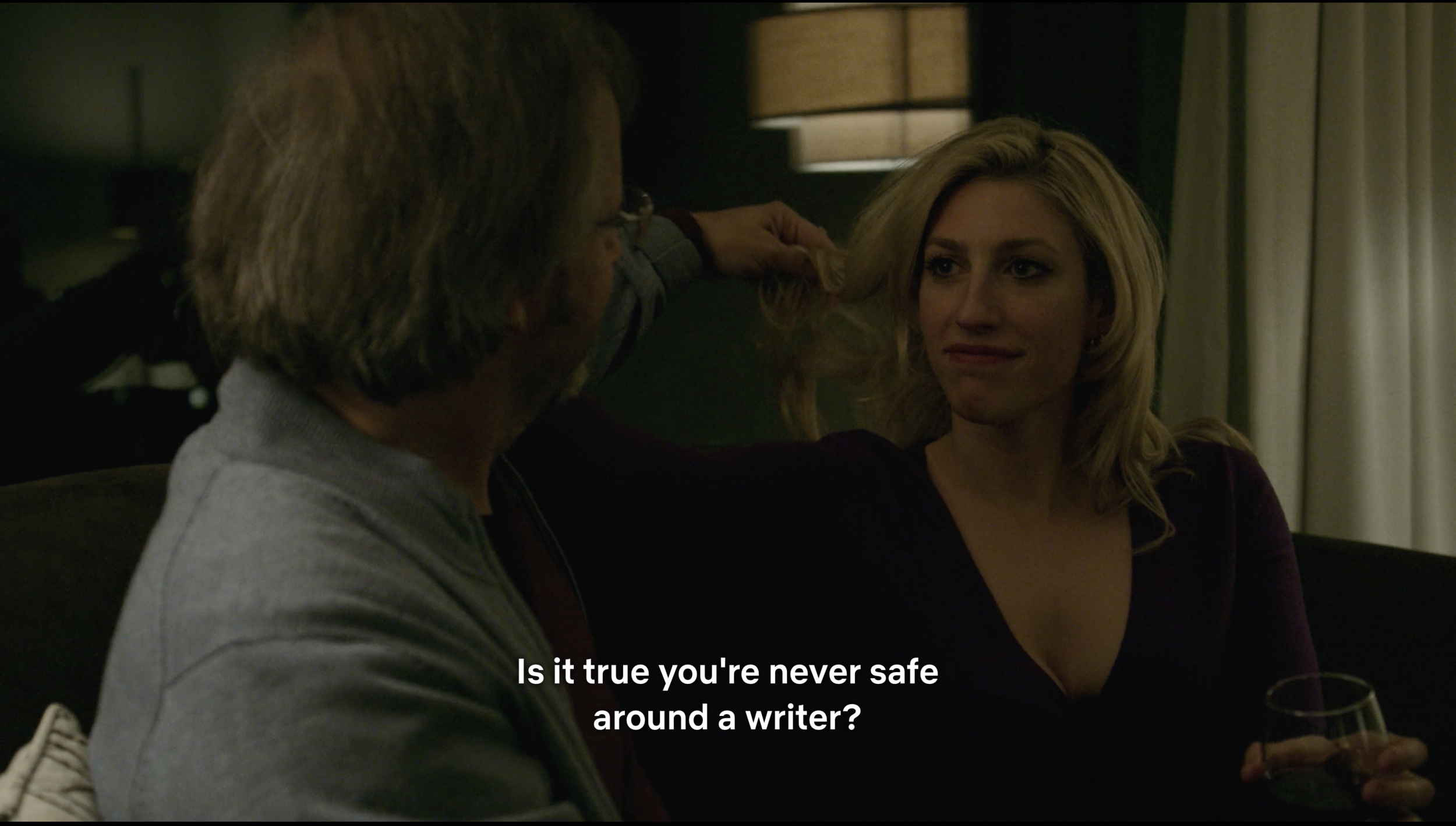"""Sex worker and writer Sally (Karley Sciortino of  VICE's Slutever ) with a client/potential subject in the  Easy  episode  """"Side Hustle""""  (s2e3). When we were dating, Galen asked me to watch episodes of  Easy  that paralleled our relationship. To me, his selection of """"Side Hustle,"""" """"Private Eyes,"""" and """"Art and Life"""" indicates that he was aware the relationship was going to devolve into this—an article, some play, some performance art, nothing more.  """"Side Hustle"""" is one of my favorite eps because it's well-observed and painfully accurate, and, TBH, I'm mildly jealous that Karley Sciortino and series creator-writer-director Joe Swanberg were able to accurately depict the realities of not just the gig economy but certain forms of outcall sex work (especially in relation to its emotional and therapeutic aspects). What they accomplished in a single episode is what I'd hoped to accomplish with my web series,   The Business  . At any rate…I chose this still because when you're fucking and writing about someone, it's difficult to turn off that journalist in you, even in your more intimate moments, and I found that I couldn't maintain that boundary around Galen."""