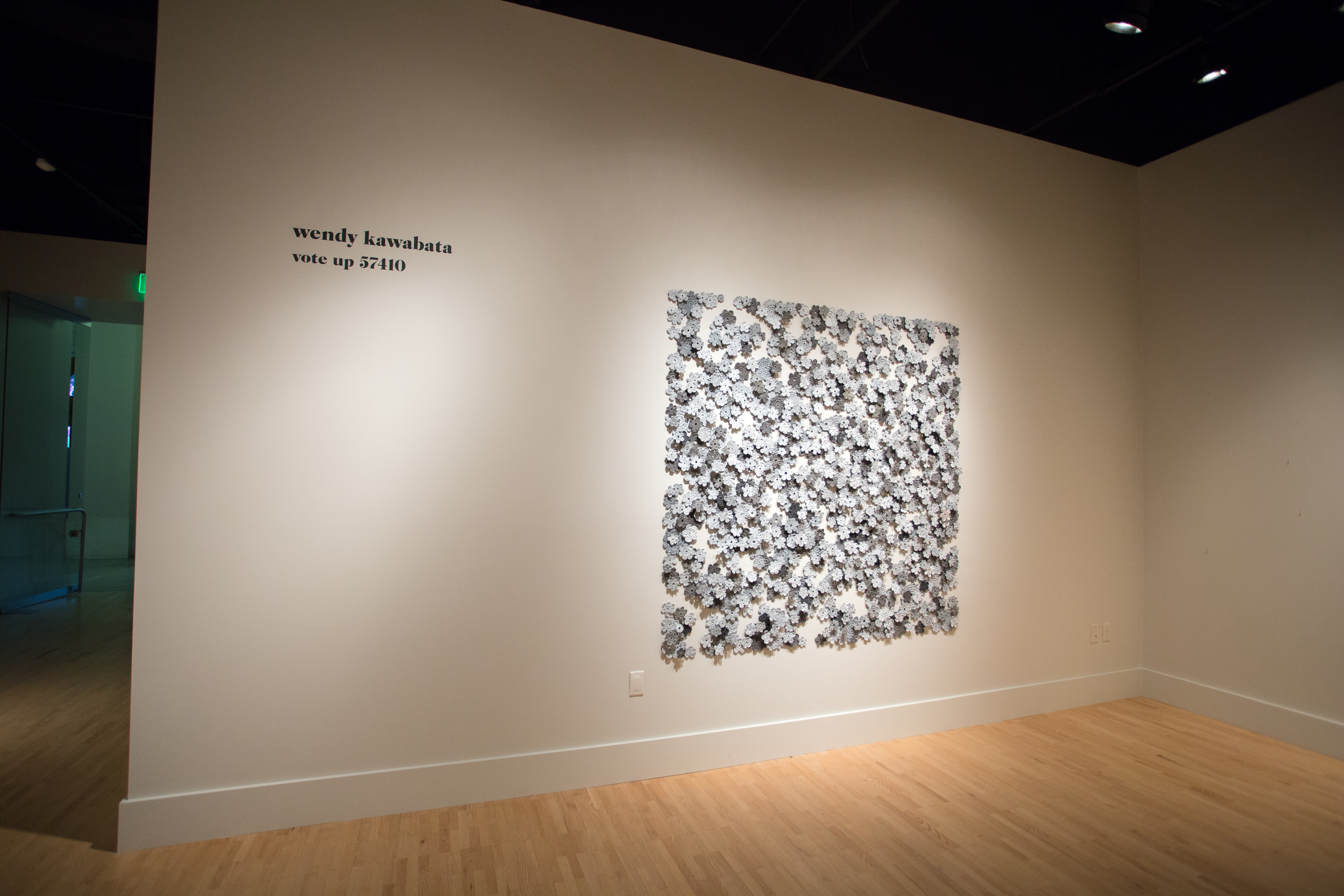 Wool and acrylic paint, installation at Kendall College of Art & Design, Grand Rapids, Michigan, 2014