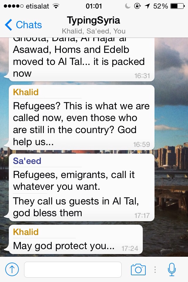4/8/15, 1:05:15 AM: Refugees, immigrants, emigrants, nationals, locals, expats, we all have labels that dictate our position on behavior. What makes us expats and not immigrants?  - Age 23, United Arab Emirates