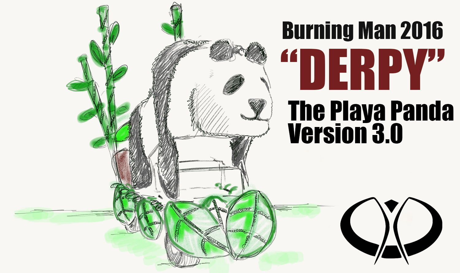 This is the NEW Derpy the Playa Panda version 3.0 for the 2016 Burning Man Event.