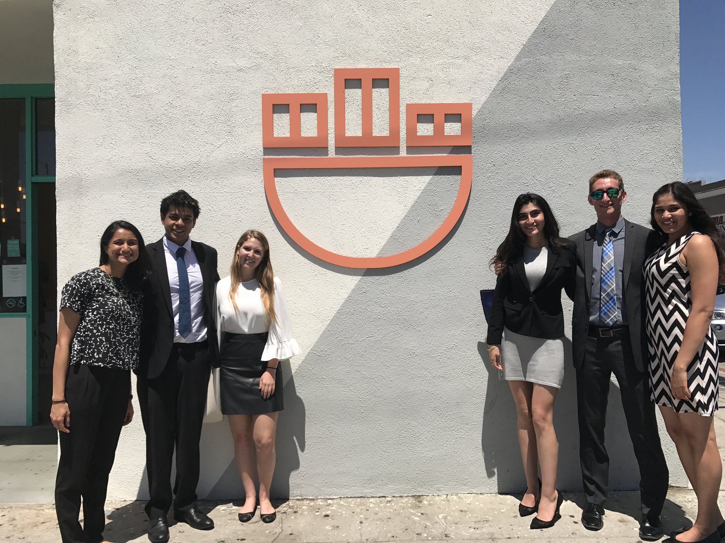 Consultants traveled to Everytable to discuss their final findings and recommendations. (L-R: Everytable representative, Anchit Kher, Sarah Cherry, Melody Mohammadi, Baron Wilton, Yashashree Pisolkar).