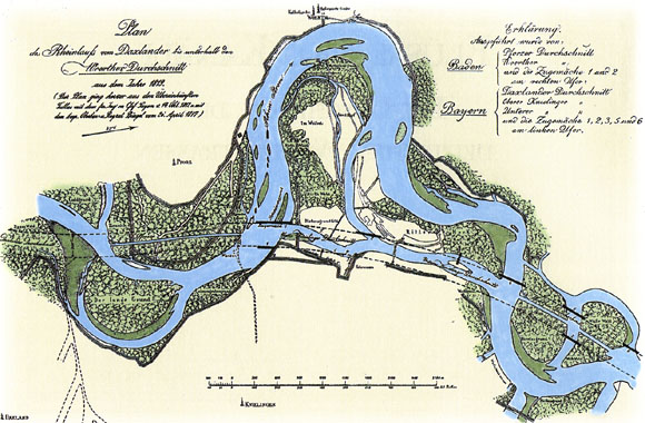 The way the River Rhine used to flow before 1817