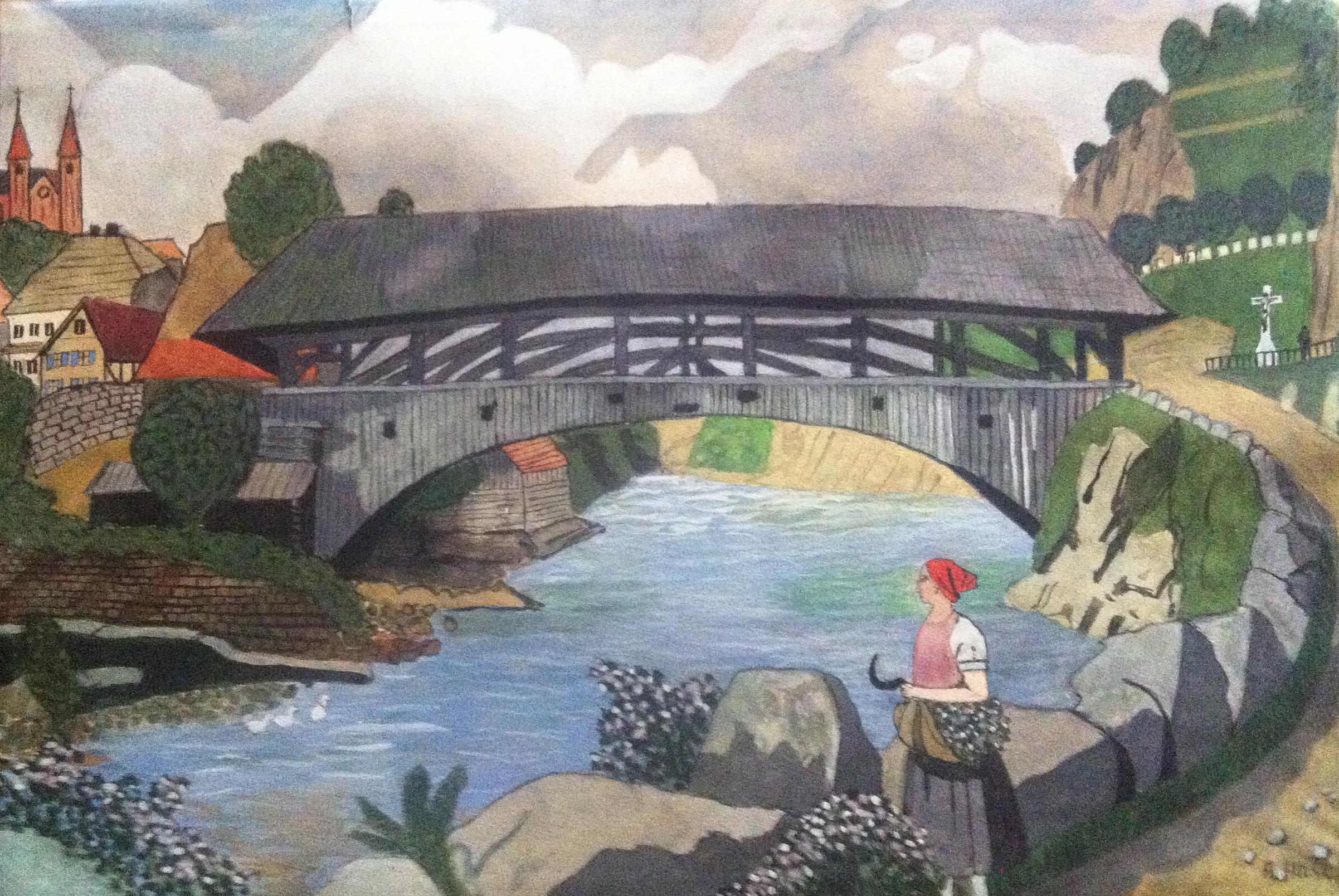 Forbach Bridge Watercolor