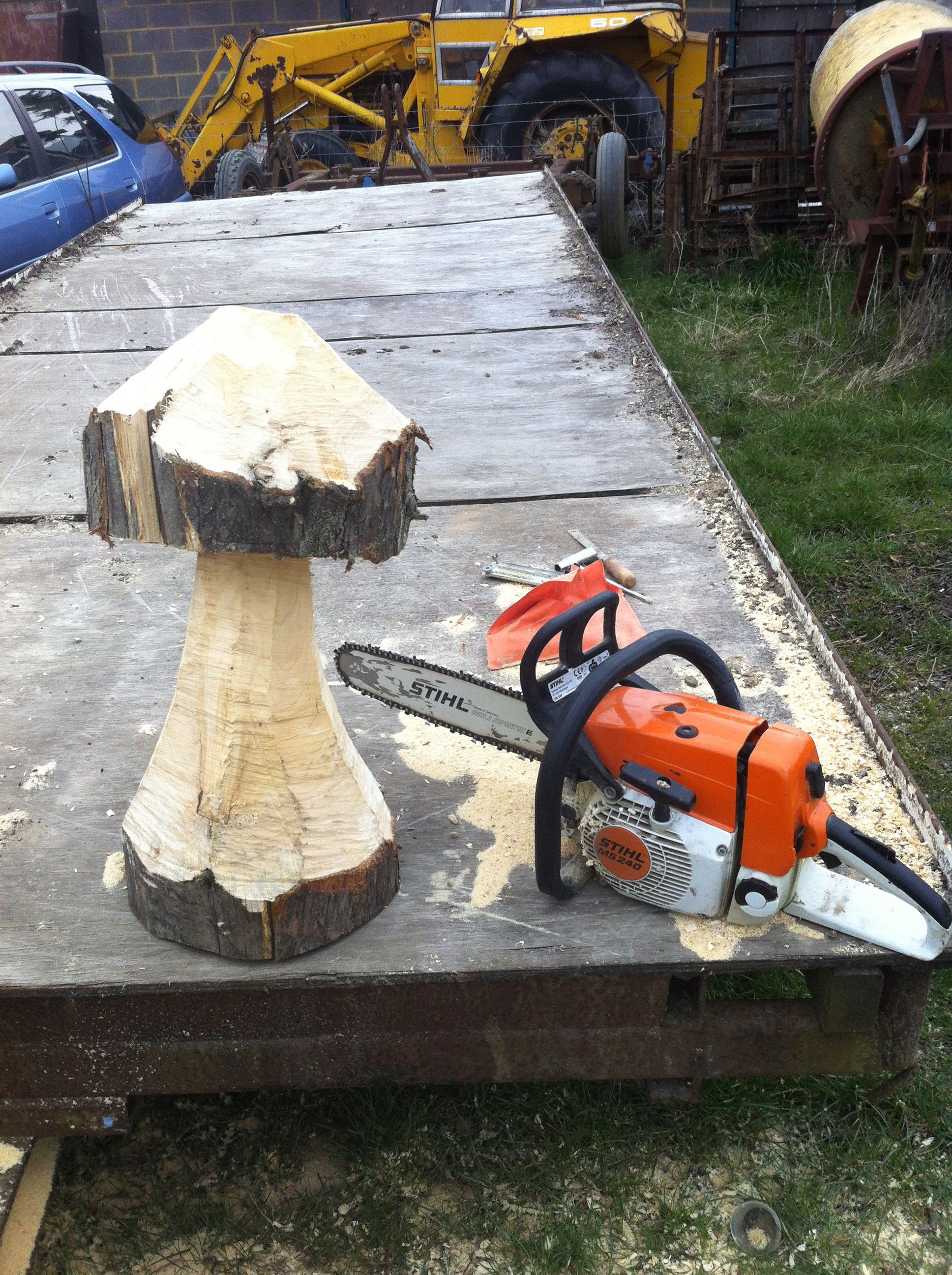 Chainsaw carved toadstool in Leylandii Cypress -SOLD £5.00