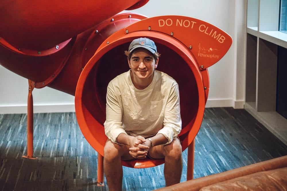 Yes, the rumours are true! We have a big red slide like the Google offices in Berlin,   this feature of our College always elicits laughter and energy. When you need a bit of fun, the slide is the solution!