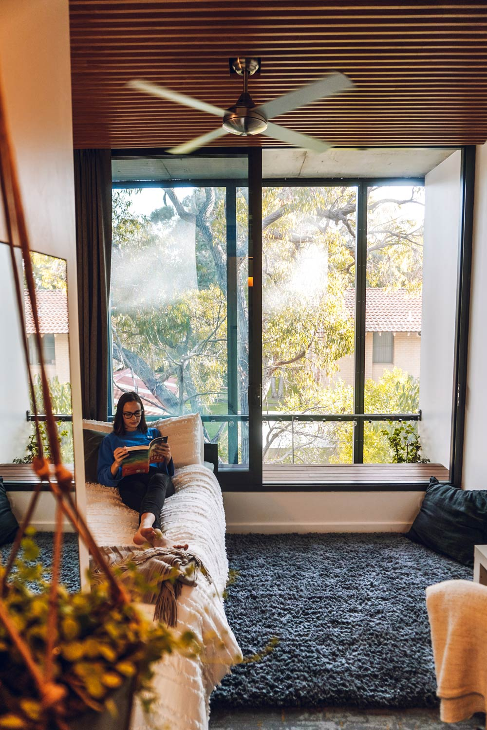 As a later year university student, you'll get the opportunity to live in a Studio Room in our new buildings. Our architecturally-designed Studio Rooms offer you a personal study and rest space with an en suite bathroom and kitchenette. Residents decorate their rooms, such as this photo taken in the Banksia building