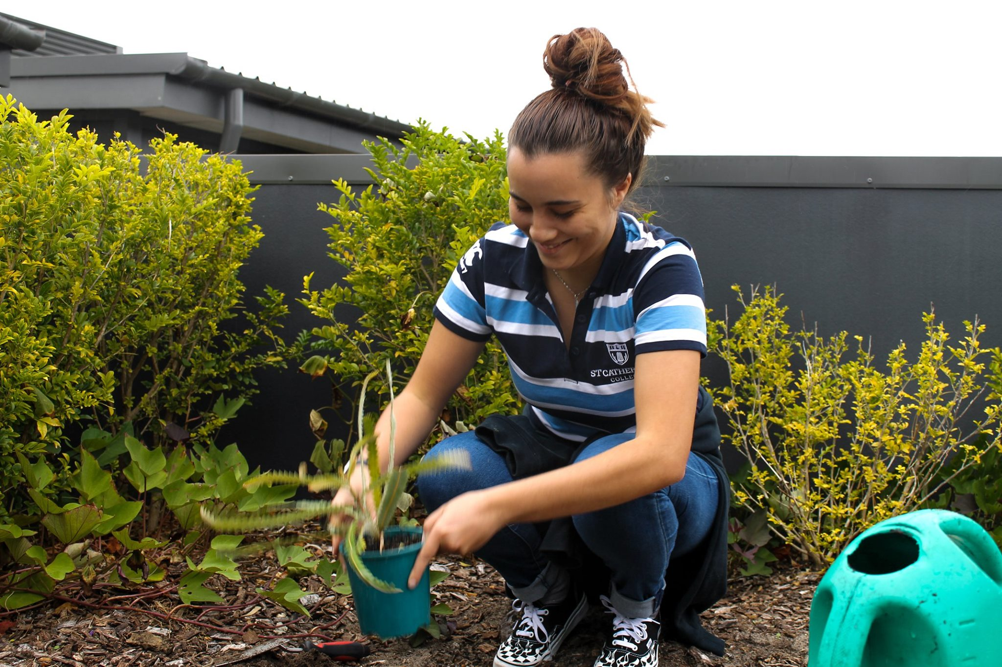 St Cat's resident Laure Law-Lin planting on the rooftop to attract honey bees