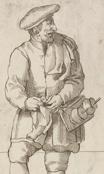 A close up of Calzettaro, an etching from the Le Arti di Bologna collection, attributed to Annibale Carracci