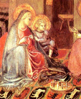 A close-up of A painting of the Holy Family attributed to Ambrogio Lorenzetti of Siena, c 1345