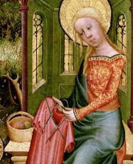 A close up of  Madonna Knitting,  Bertram of Minden (1400-1410)