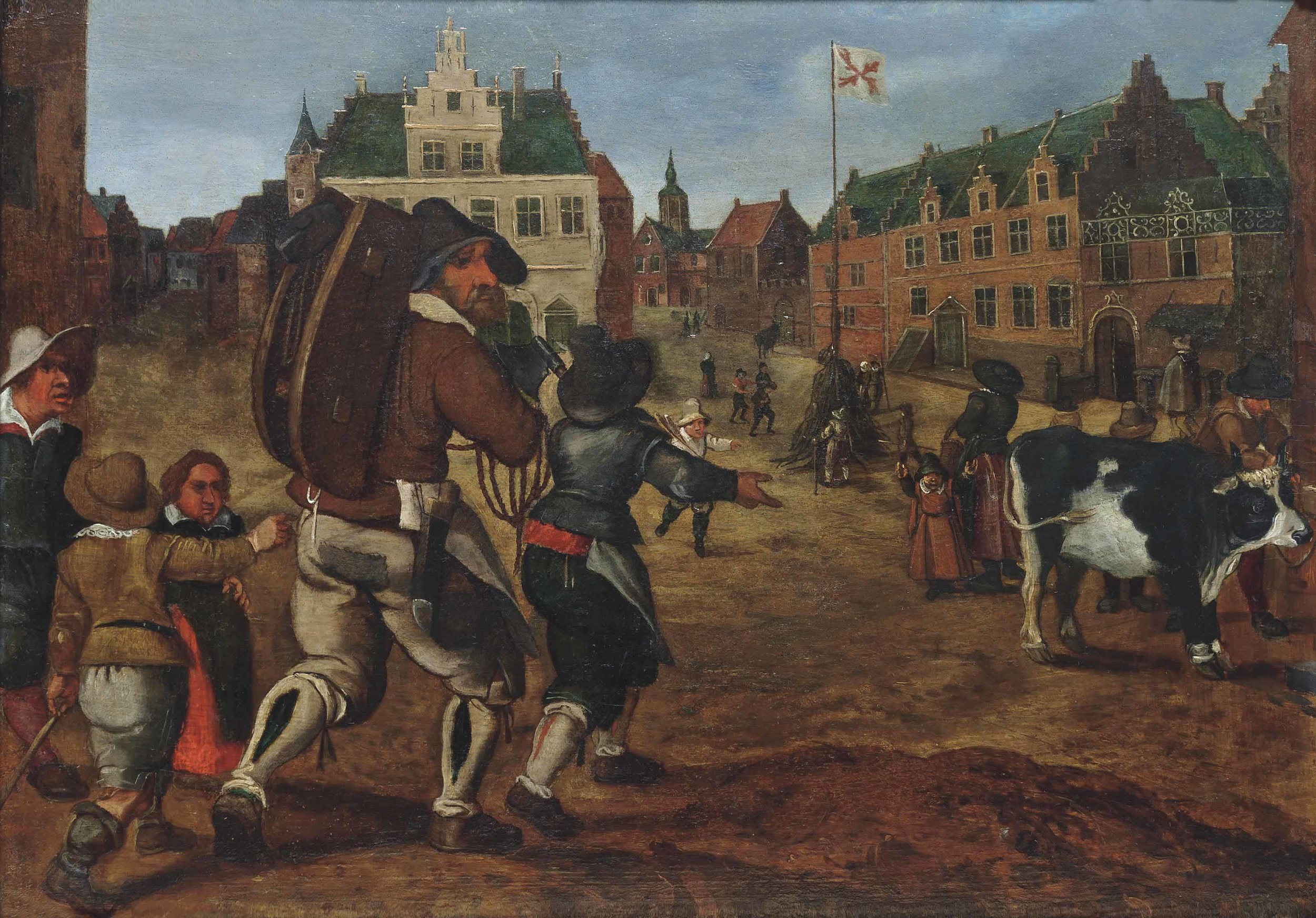 A Townscape with Figures on the Market Square, attributed to Sebastian Vrancx.