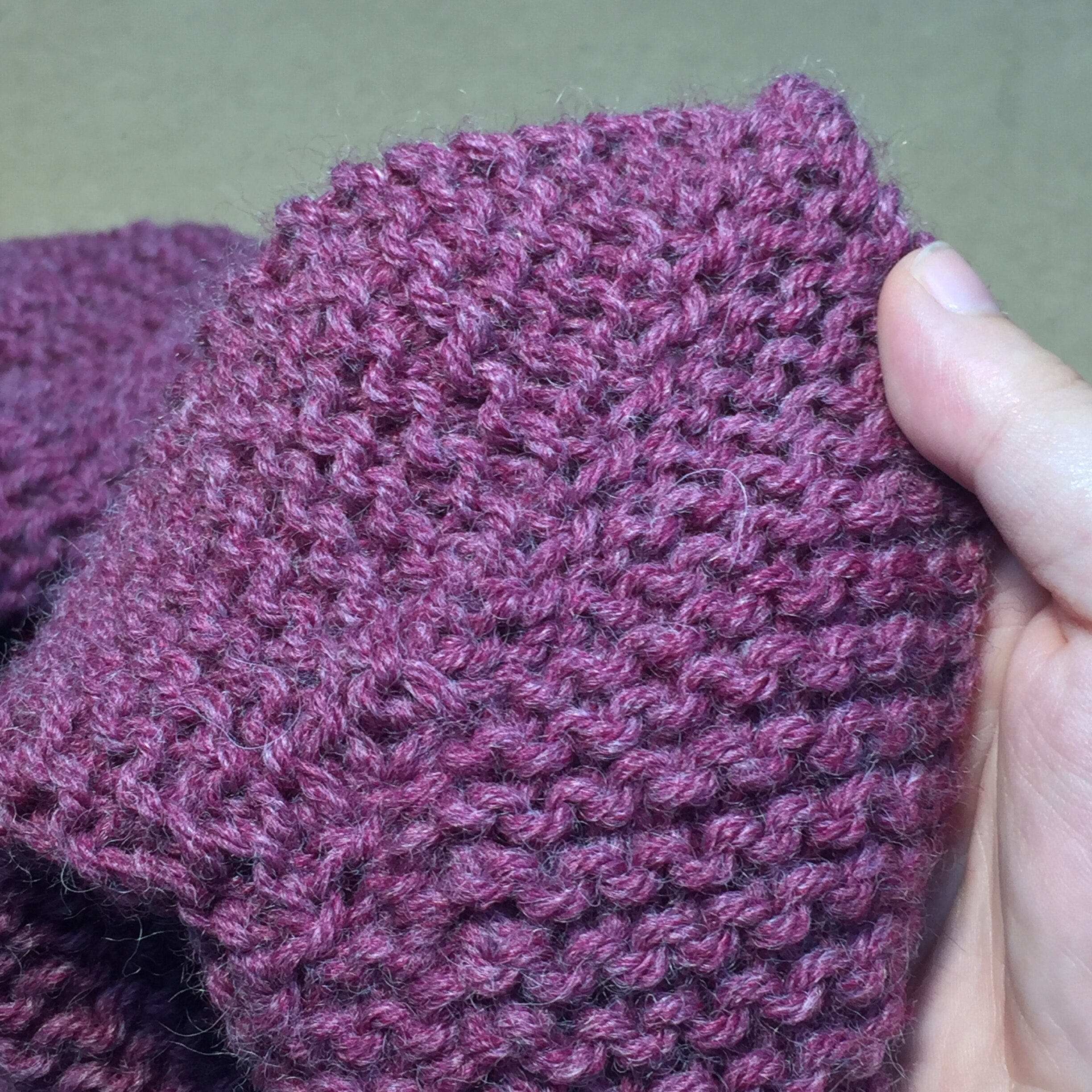 Yarn: Lion Brand Wool-Ease in Violet Red with Grey Heather