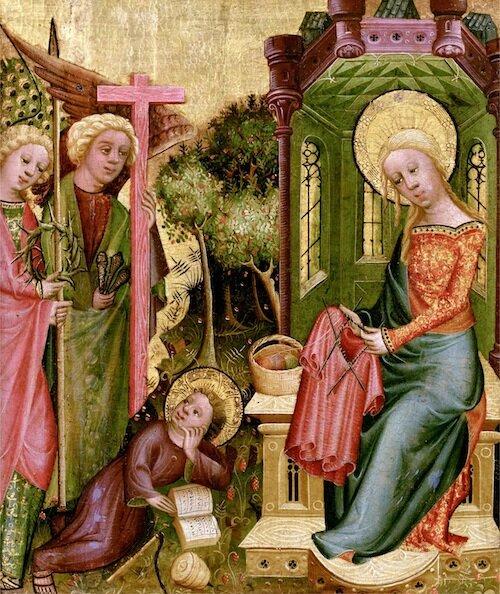 Madonna Knitting, by Bertram of Minden C. 1400
