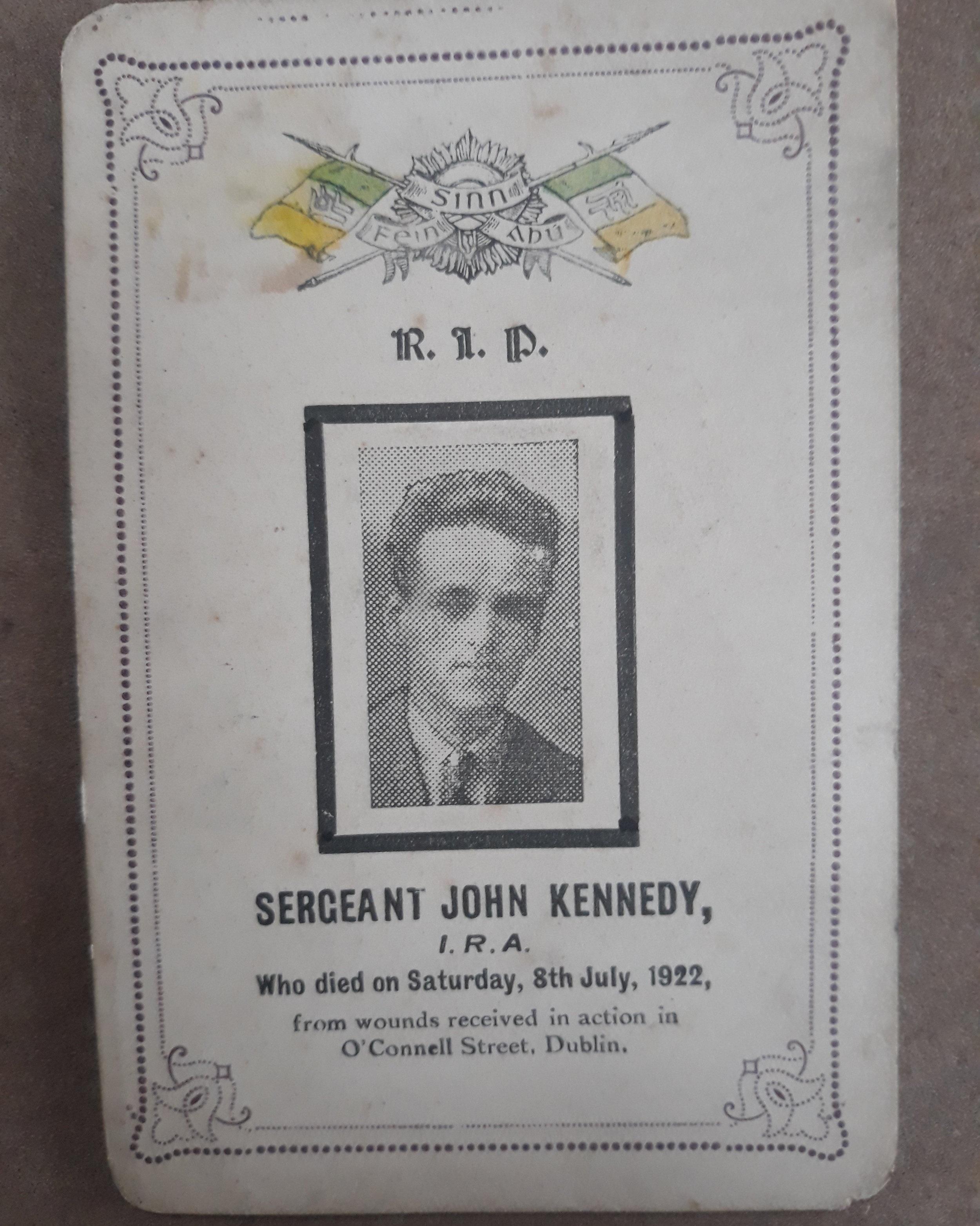 John Kennedy Memorial Card