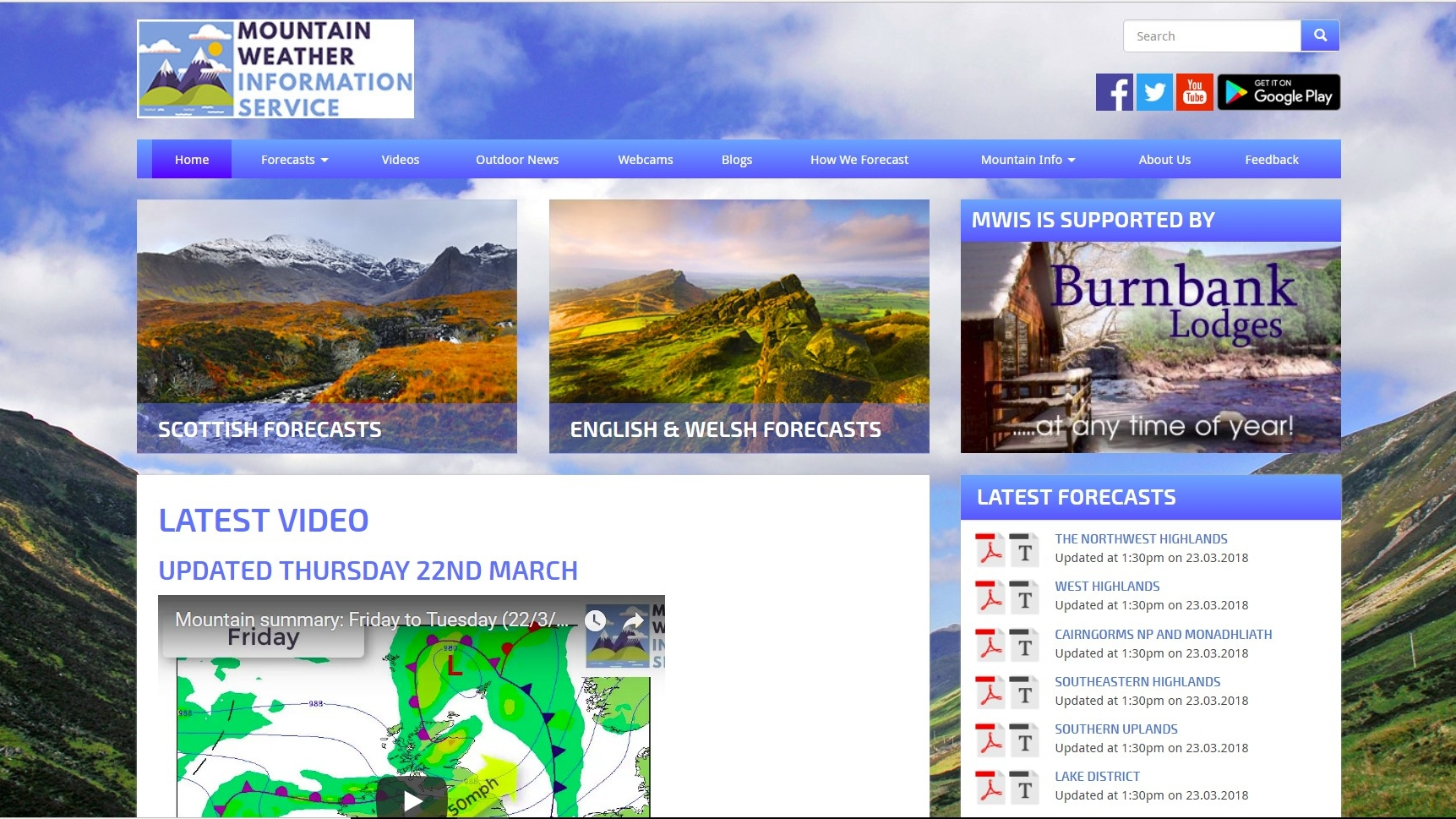 The Mountain Weather Information Service (MWIS) a fantastic resource.