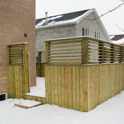ADD A LITTLE PRIVACY  Add a little privacy and change how you use space with your new deck.Screening is one way to add an interesting design feature that provides more than just functionality.