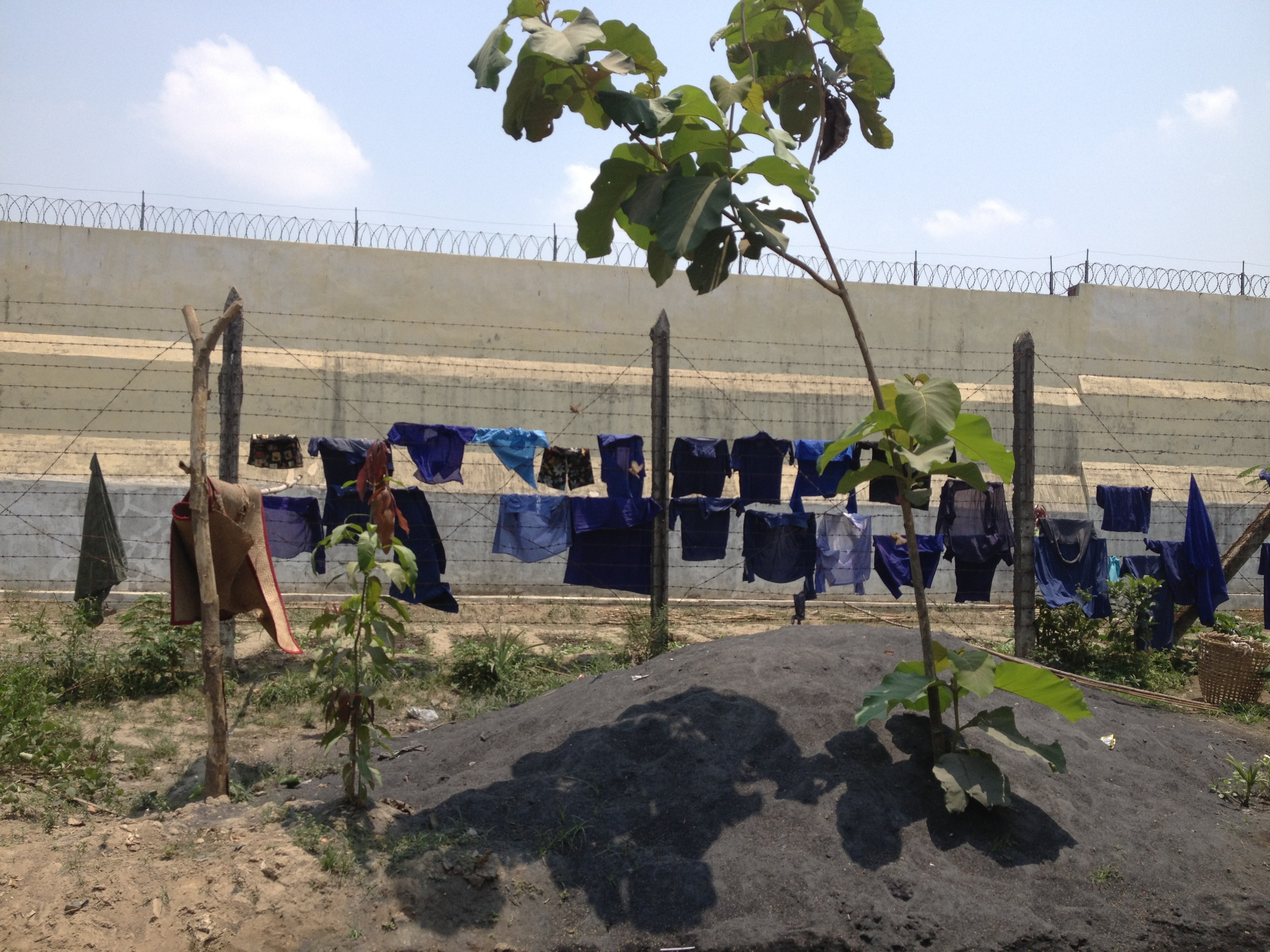 Inmates' laundry, Insein Prison, April 2013