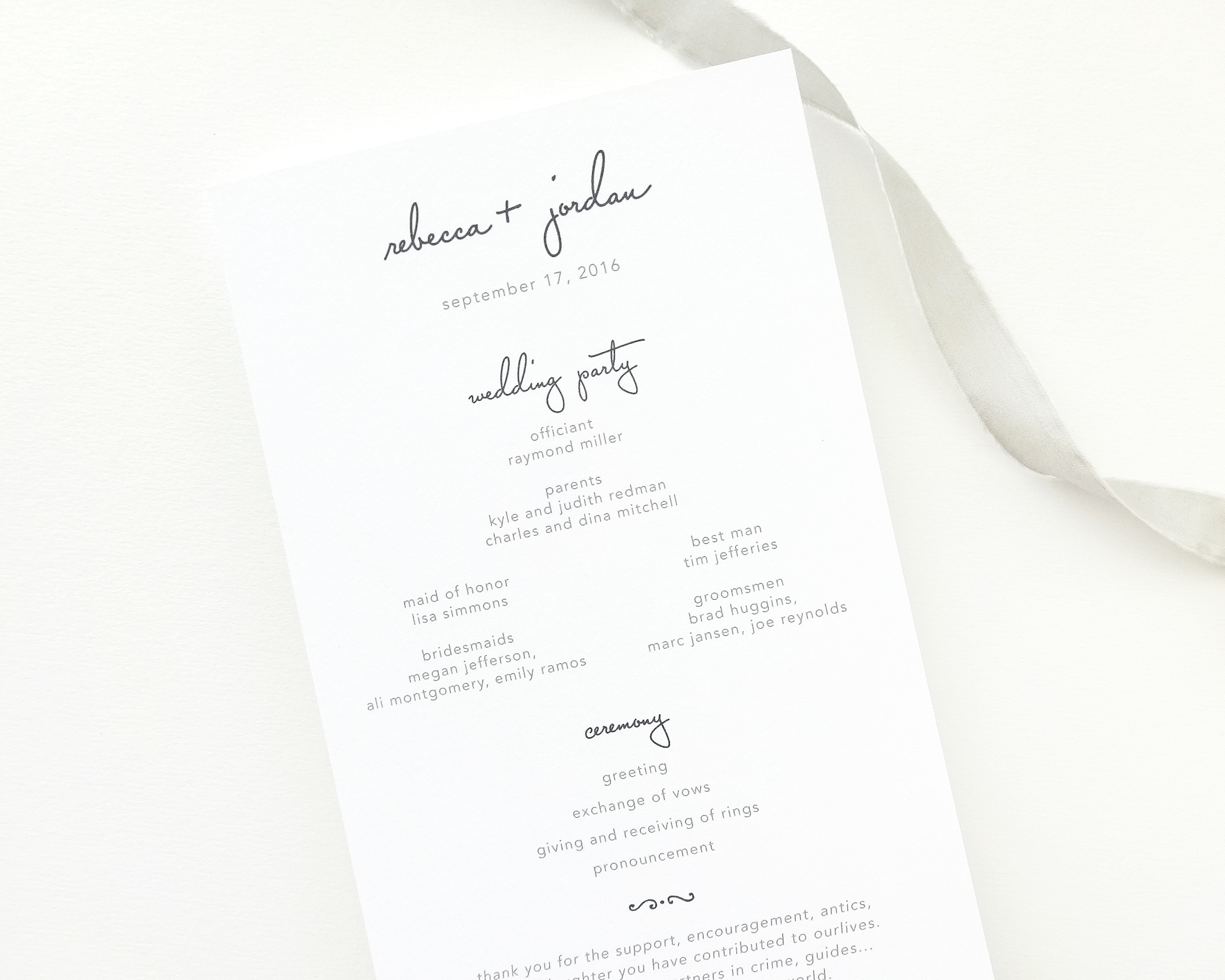 Rebecca Wedding Program