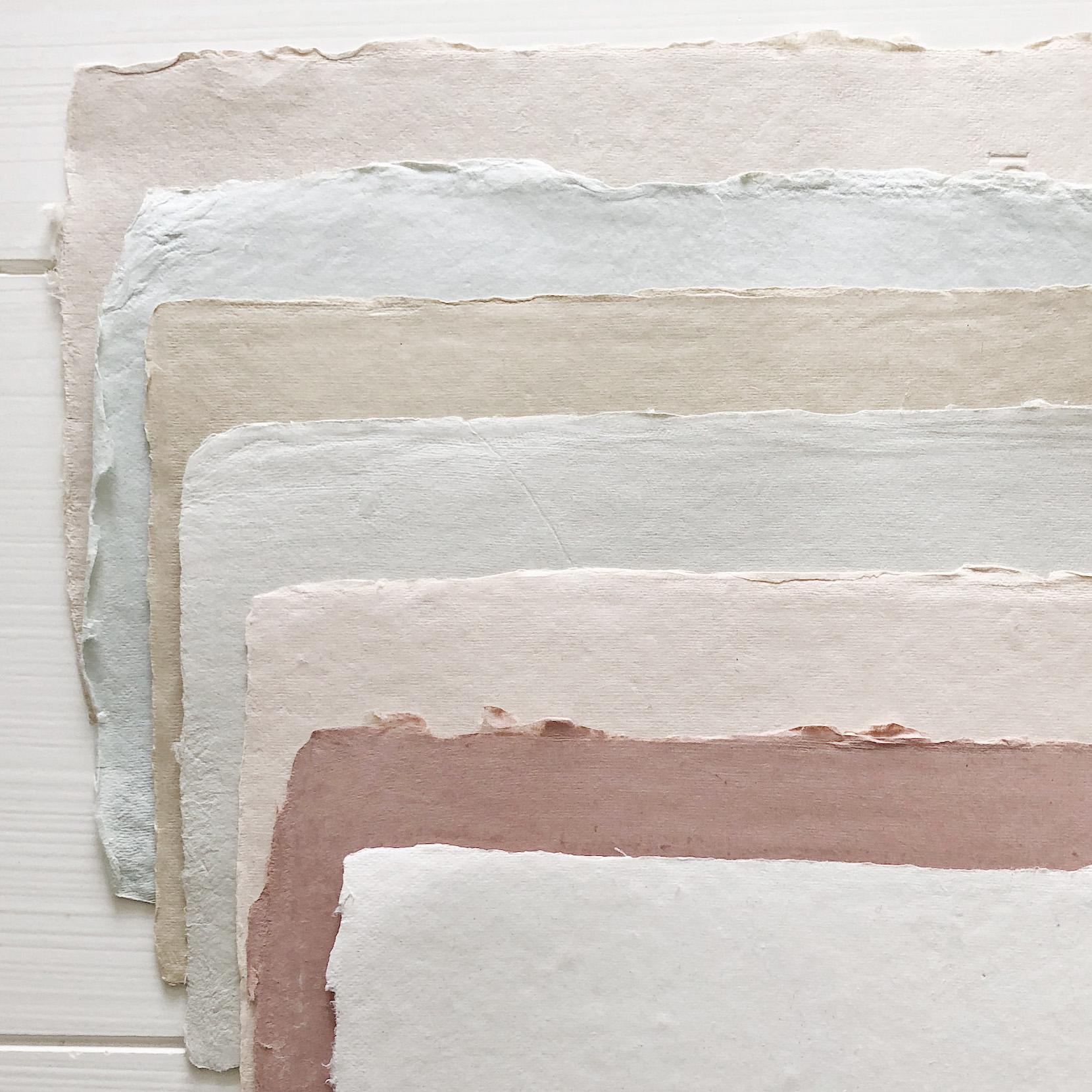 handmade envelope colors    from the top: Sand, Lake, Wheat, Haze, Powder, Rose, Cream