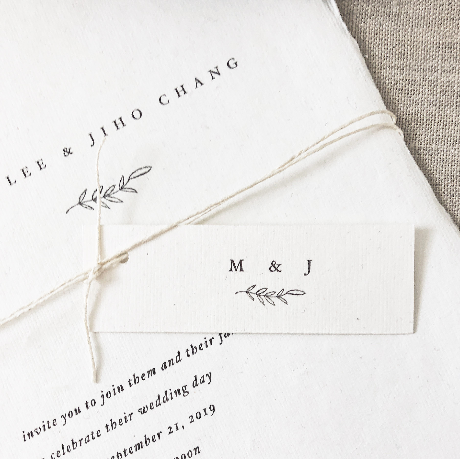 hang tags   Our hang tags match your chosen design, with your initials and graphic, or your wedding date.
