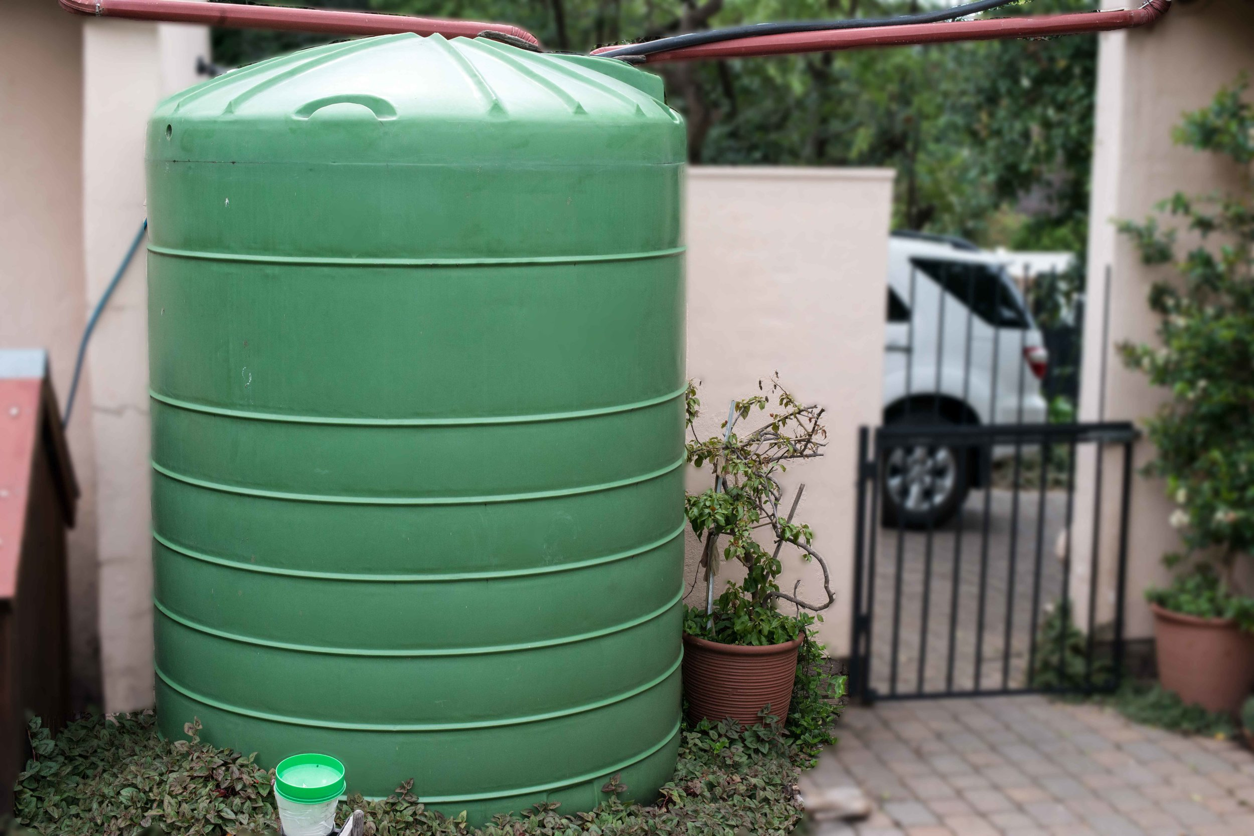 Supplement borehole water with rainwater harvesting