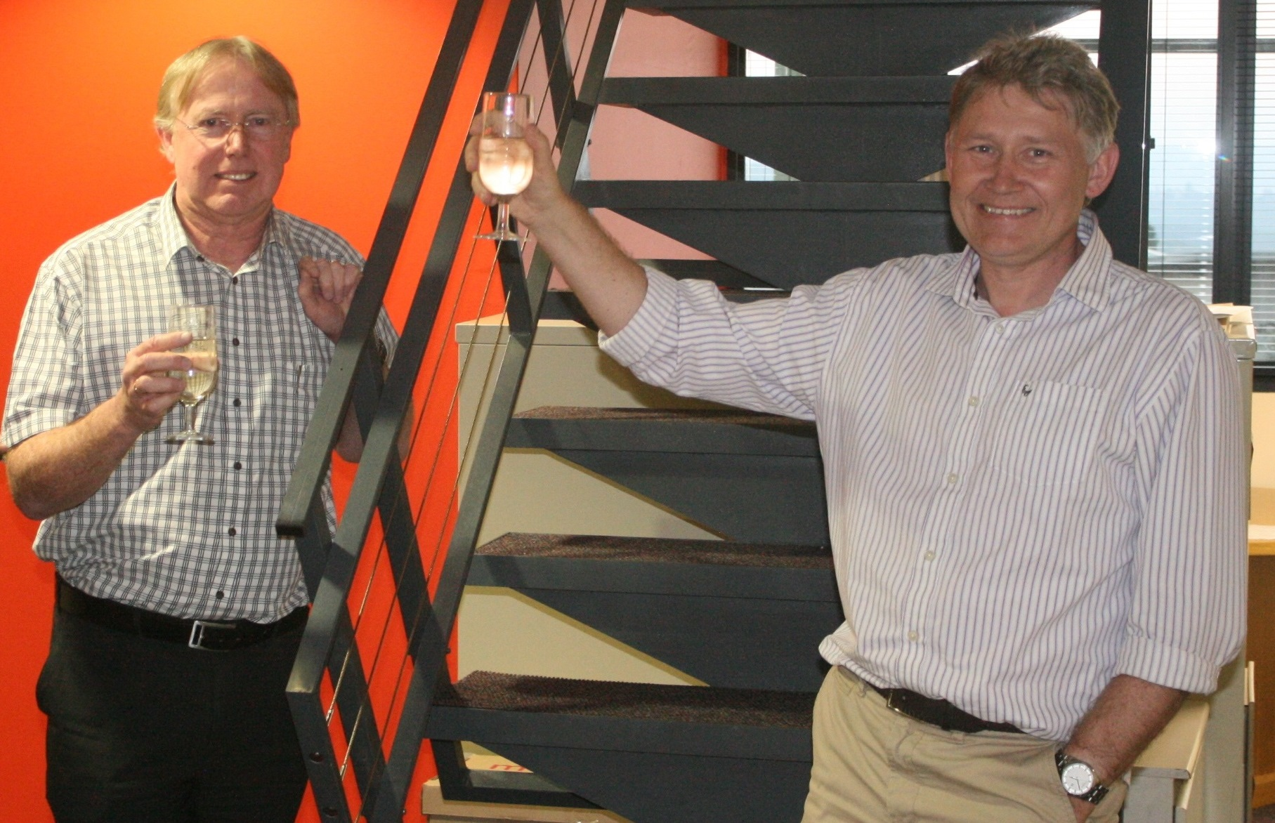 Celebrating 25 years - Rob McNeill, corporate consultant and principal geotechnical civil engineer (left) and Angus Bracken, partner and principal engineering geologist.