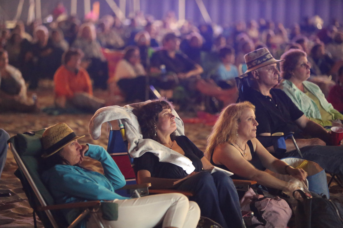 - AUDIENCE IN BEACH THEATRE WATCHING