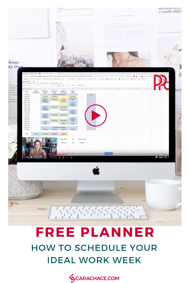 Learn how to schedule and plan your week with the free editable template - The Ideal Work Week. Try theme-ing your days instead of time blocking and learn to focus! Make your schedule work for you and learn how to use it with the free video training. #carachace #planner