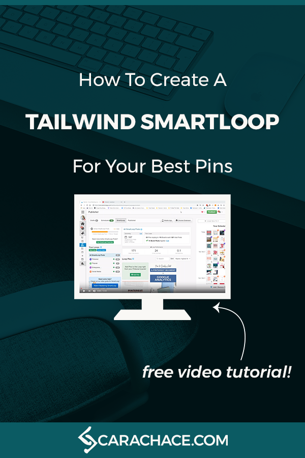 Watch the free video tutorial to learn how to set up a Tailwind SmartLoop for your best pins on Pinterest. Tailwind is like having a virtual assistant for your Pinterest marketing. Save tons of time and stay consistent with your pinning.#carachace #tailwind #pinterestmarketing