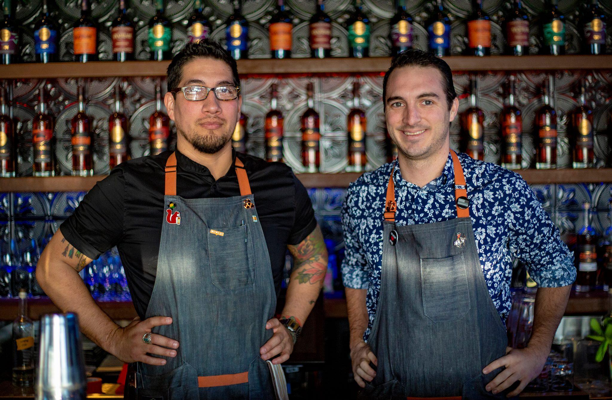 L: Cocktail mixologist Eron Plevan; R: Mocktail mixologist Jesse Hawkins