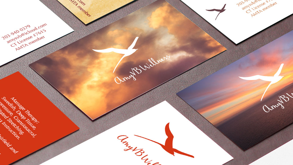 AmyVB Wellness business card concepts