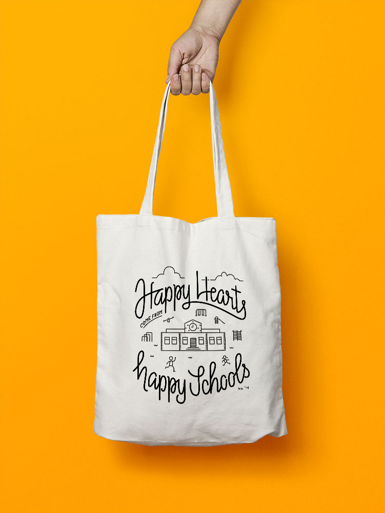 Happy Hearts promotional tote bag
