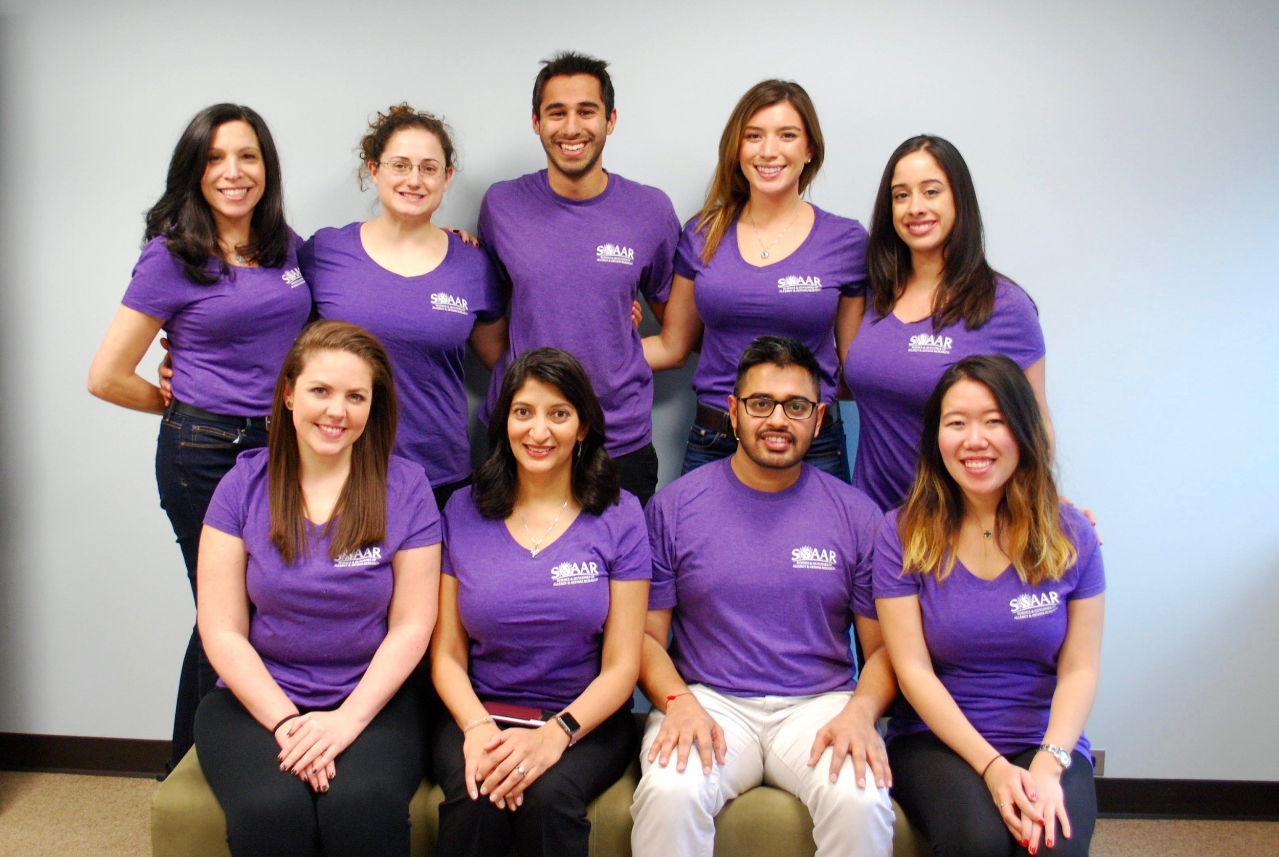 Dr. Gupta (second from the left on the bottom row) and her SOAAR research team (Science and Outcomes of Allergy and Asthma Research) at Northwestern University.