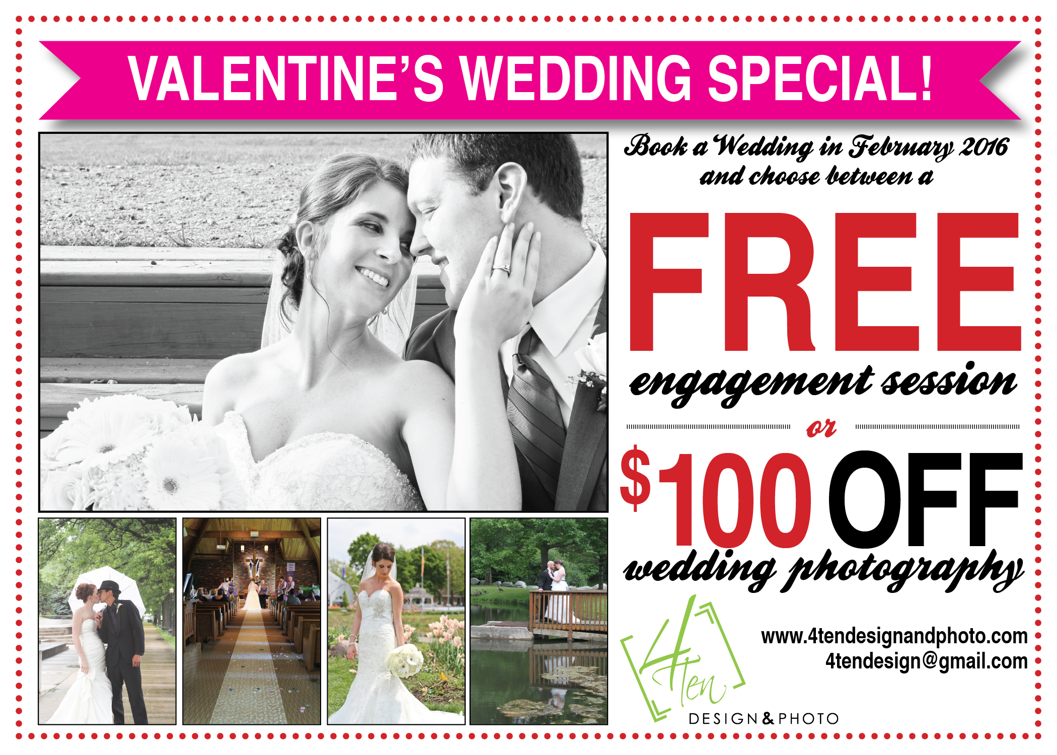 That's right, FREE Engagement session or $100 OFF weddings when you book by the end of February! Contact me for more details.