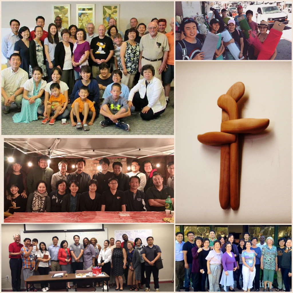 Top left: Interracial family retreat in Tuscon, AZ; Top right: Youth peace camp; Middle left: Peace spirituality seminar; Middle right: Reconciliation cross designed by Sunghwan Kim; Bottom left: Trauma and resilience seminar at Disciples Seminary Foundation; Bottom right: STAR training at Mt. View Mennonite Church