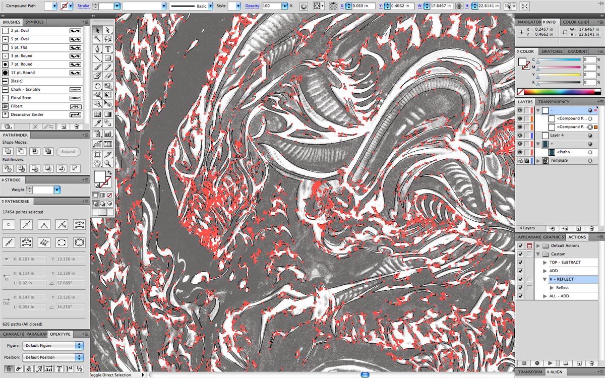 In-progress shot of the alien digital drawing.