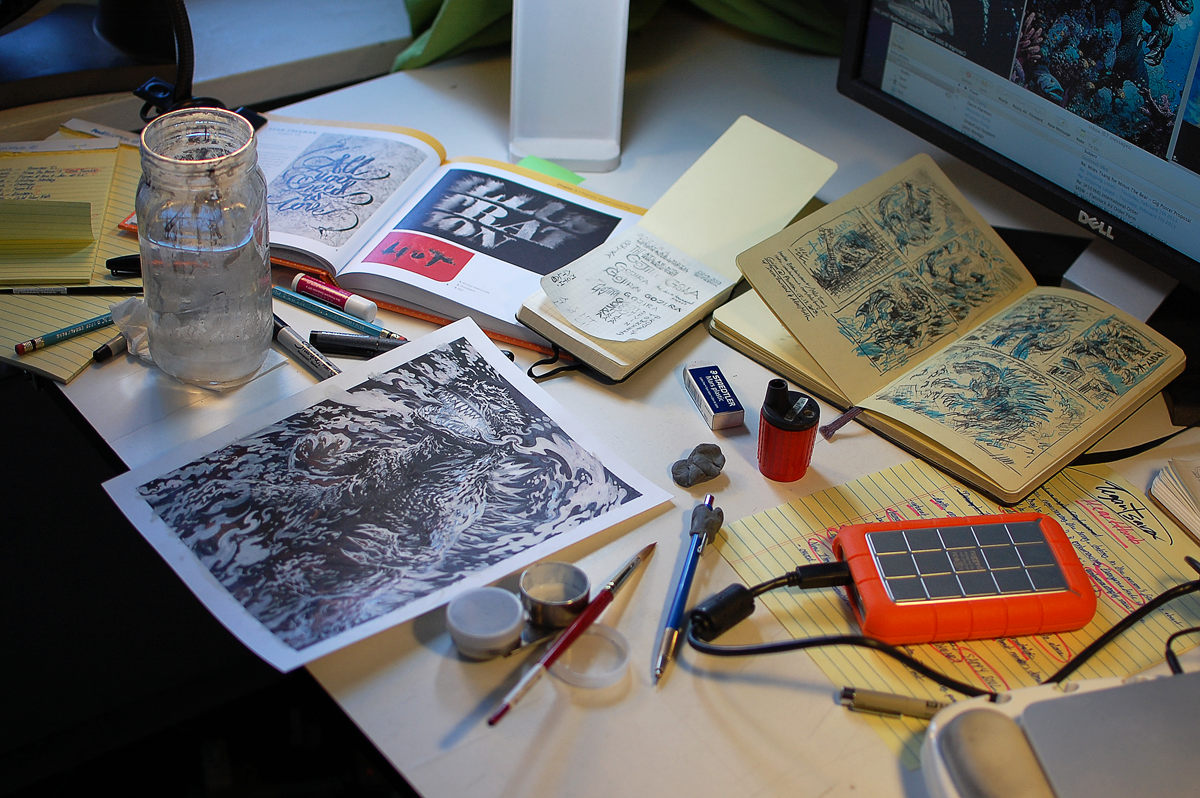 As things progress, so does the desk mess.