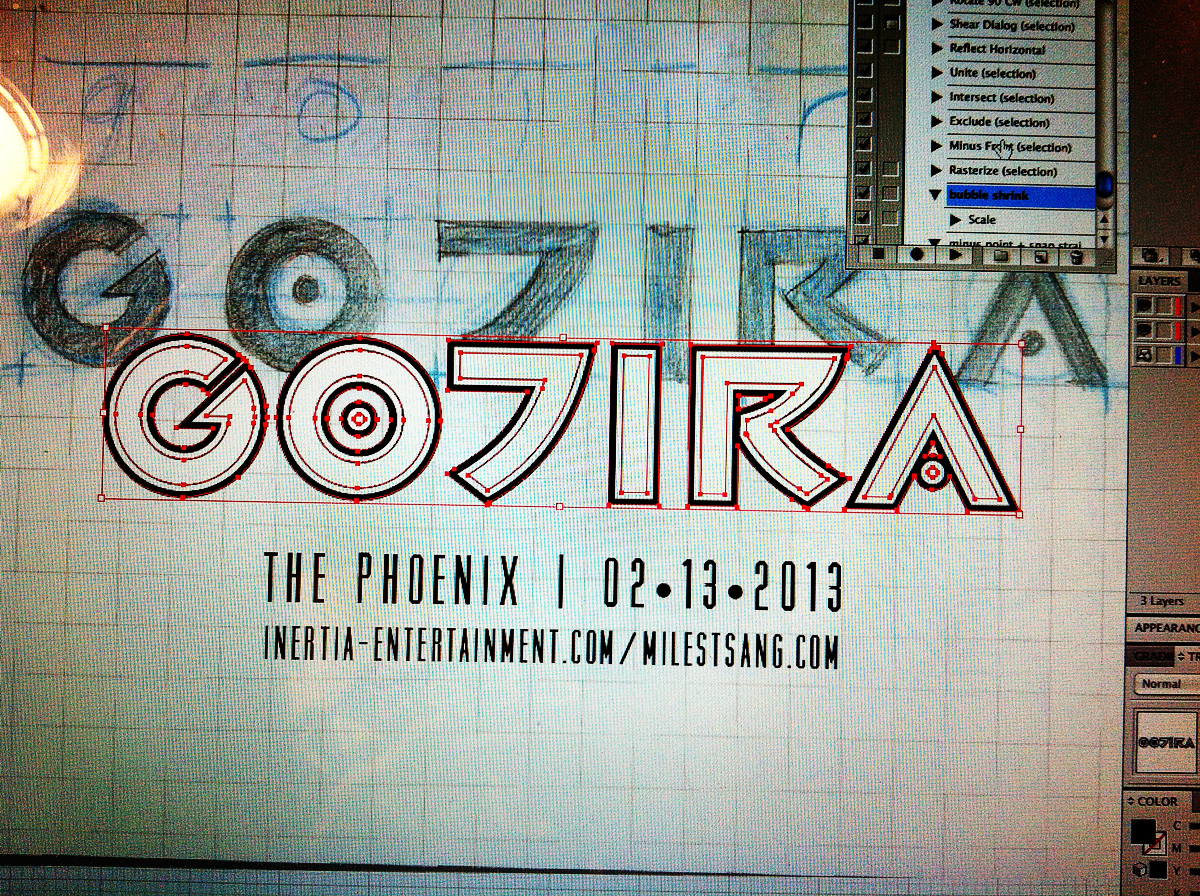 Digitally finalizing the type in Illustrator using the Shape Bulding tool.