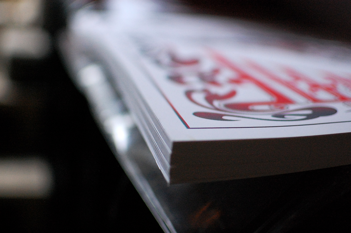 Close-up of the trimmed stack of posters.